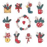 Зима, Новый Год, рождество покрасила значки установленный Много различных декоративных элементов на зимние отдыхи для дизайна уль иллюстрация вектора
