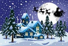 Зима ночи летания саней Xmas Санта Клауса силуэта Стоковое Изображение