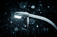 зима ночи светильника идя снег Стоковое Фото