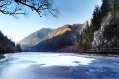 Зима озера панды Jiuzhaigou стоковое фото rf