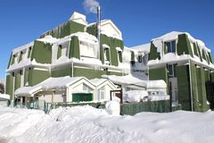 Зима 5 дома снежная Стоковое фото RF