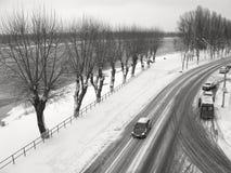 Зима, дорога вдоль реки Pripyat стоковые фотографии rf
