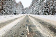 зима дороги пущи снежная стоковая фотография rf