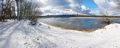 зима панорамного взгляда ландшафта Стоковая Фотография RF