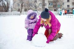 зима парка мати дочи Стоковое Изображение RF