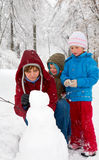 зима парка семьи Стоковые Фотографии RF