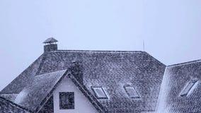 Зима падать сильного снегопада видеоматериал