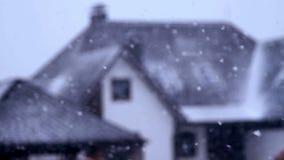 Зима падать сильного снегопада акции видеоматериалы