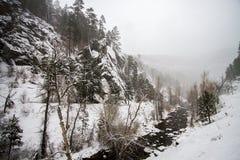 Зима покрыла долину в Spearfish, SD стоковые изображения