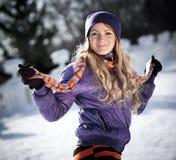 зима портрета девушки Стоковые Изображения
