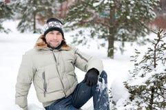 зима портрета парка человека Стоковое фото RF