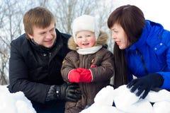 зима портрета семьи Стоковая Фотография RF