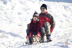 зима потехи sledging Стоковое Изображение