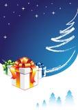 зима подарка коробки предпосылки Стоковые Фото