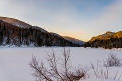 Зима приезжая в парк Jacques Cartier захолустный, Квебек Стоковое Изображение