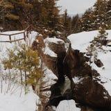 зима прогулки сынка мумии зеленой куртки отца пальто голубой крышки берета красная идя снег стоковые фото