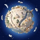 зима планеты шаржа 3D Стоковое Изображение