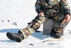 зима рыболовства Стоковые Изображения