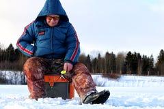 Зима рыболова на озере Стоковая Фотография