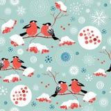 зима рябины картины bullfinches безшовная бесплатная иллюстрация