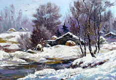зима села дома Стоковое фото RF