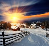 зима села ландшафта Стоковые Изображения RF