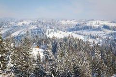 зима сказа снежка красивейшей пущи красная s коттеджа финской Стоковые Фото