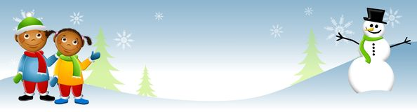 зима снеговика 2 малышей Стоковое фото RF