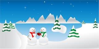 зима снеговиков праздника иллюстрация вектора