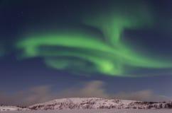 Зима, снег, рассвет, северное сияние, ноча, звезды Стоковое Изображение