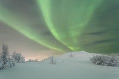 Зима, снег, рассвет, северное сияние, ноча, звезды Стоковые Фото