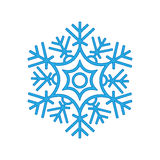 Зима снежинки изолированная на белой предпосылке Голубой силуэт значка иллюстрация вектора для дизайна рождества новый год знака  Стоковое фото RF