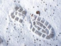 зима снежка места следа ноги Стоковые Изображения