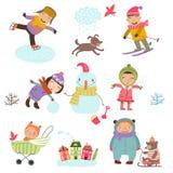 зима снежка положения праздников мальчика Милая иллюстрация детей играя outdoors в зиме Стоковое Фото