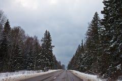 Дорога зимы Стоковые Изображения