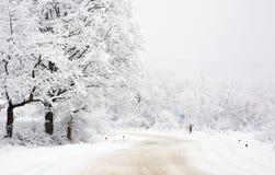 Зима, снежный день на дороге Стоковое Изображение