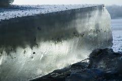 Зима сняла блока льда на замороженном озере Стоковые Изображения RF