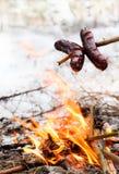 зима сосисок пожара лагеря Стоковая Фотография
