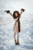 зима солнца девушки дня ребенка ся Стоковые Фото