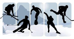 зима спорта силуэтов Стоковые Фотографии RF