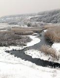 Зима сценарная реки Kalynova, Makeevka Стоковые Фото