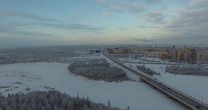 зима температуры России ландшафта 33c января ural Вид с воздуха природы Муха сверх сток-видео