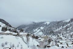зима температуры России ландшафта 33c января ural Красивая сцена зимы в румыне Карпатах Стоковое фото RF