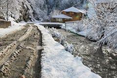 зима температуры России ландшафта 33c января ural Красивая сцена зимы в румыне Карпатах Стоковая Фотография RF