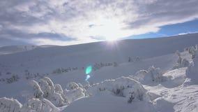 зима температуры России ландшафта 33c января ural Солнечные и отчасти пасмурные величественные горы снега природа курорта туризма сток-видео