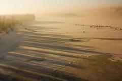 Зима удя на зоре Стоковая Фотография