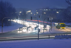 зима улицы ночи Стоковая Фотография