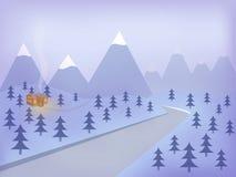 зима луны ландшафта hoarfrost пущи вечера Стоковое Изображение