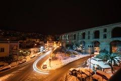 зима улицы людей ночи ландшафта гуляя Стоковое Фото