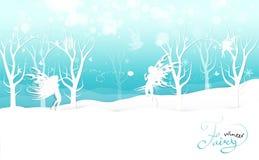 Зима, фантазия феи играя снежный ком в приглашении плаката каллиграфии природы, снежинки и звезды разбрасывают карту курортного с бесплатная иллюстрация